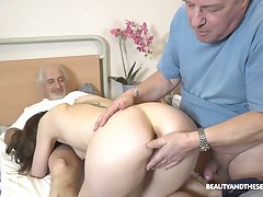 Sweet nurse pleases these old guys with one resume fuck