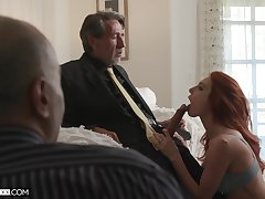 Wage-earner is watching his old king fucking red-hot haired young wifey Lacy Lennon