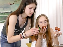 Hot lesbian sex scene with skinny best friends Alex Diaz increased by Camille