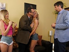 Three babes get the stepdads to shove their stiff cocks in their pussies