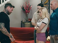 Tattooed man loves gagging the blonde together with shagging her cherry