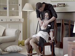 Beautiful housekeeper in uniform Valentina Bianco is fucked by handsome young man