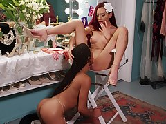 Tongues and fingers move forward wild when Kira Noir and Sabina Rouge hook up