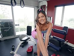 Full POV sex with a sexy Asian dimension handy the gym