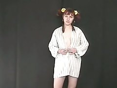 Pigtailed ginger nympho flashes her ugly pale tits and her pissing show