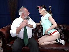 Perverted pensioner enjoys fucking young blond prostitute Misfire Melissa
