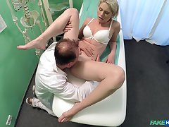 Dabbler girl rides the doctor's dick without knowing she is being filmed