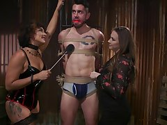 Hot mistress Chanel Preston and her assistant fuck one required up submissive man