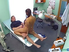 Mea Melone together with a stud do the deed in a medical examination enclosure