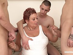 Surrounded by dudes mature obese whore is so into sucking cocks fruitless