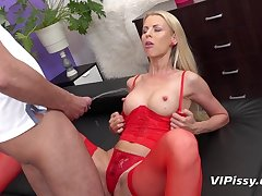 hot babe all over red stockings Lynna Nilsson peeing fetish