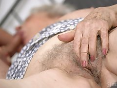Senile granny with big boobs Norma B gets propound with brat