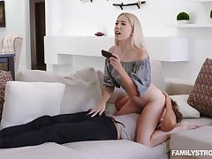 Nice blondie Paisley Bennett sits on stepbrother's face and plays video games