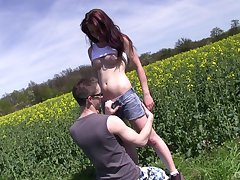 Conscientious into public notice fucking with gorgeous redhead girlfriend Sharlotte