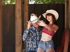 Cowgirl goes on the move mode on cock in country POV