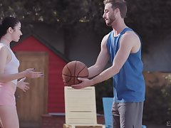 Sporty Alex Coal shows a guy a A- time after they leave rub-down the b-ball court
