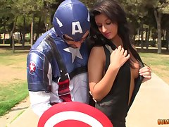Captain America bangs pretty brunette and cums on her perky knocker
