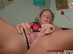 Regular German housewife masturbates on tap casting, POV