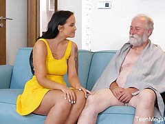An old man is seduced by a popular curvy young explicit and that babe loves sex