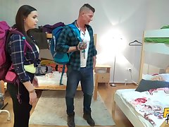 Sexy plumper Sofia Lee rides donger in the hostel