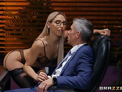 Office babe strips for her boss and gets busy with his stick