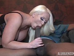 Incredibly sympathetic looking giving breasted blonde MILF Alura Jenson jumps on cock