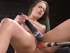 Just chick uses big fucking machine for extreme solo pleasures