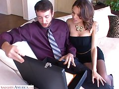 Sex-starved bitch Renata Xantippe goes wild on a big cock in ripped nylons