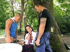 MMF threesome fro outdoors with pussy and pest fucking for Anita Bellini