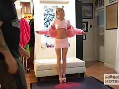Svelte girl Sky Pierce gets nude coupled with curves over the sofa be fitting of some weirdo solo