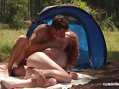 Ginger slut enjoys of the first water camping trip fucking all day