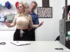 Bent over the table big breasted blonde Casca Akashova is nailed doggy