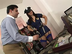 Fake female cop wants a piece of this man's hard wood