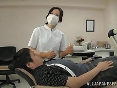 Asian dentist drops her tights encircling ride her lucky patient. HD