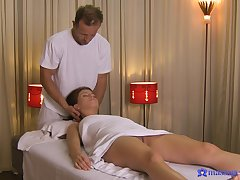 Hot action on the massage table for a sexy amateur wife