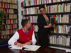 Stuffed-shirt librarian Katana Kombat lets her guard not far from with a young buck