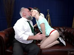 Young blonde suits her sexual needs with an elderly weasel words