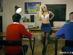 Young lads measure their teacher saving except threesome she ever had