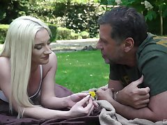 Broadly in the park, vivacious blonde Angela Vital makes an senior guy's day