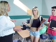 Schoolgirl increased by horny teacher, together nearby share the biggest load of shit