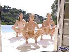 Young lesbians have a sexy threesome after open-air workout