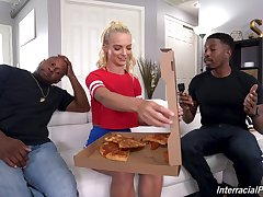 young blonde knows the right solution to beguile these black hunks