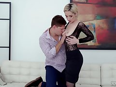With bated breath slick in lace and fishnet, Di Devi gets dicked good
