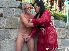 Young girl joins a much-older daring lady be expeditious for a public fourway fuck