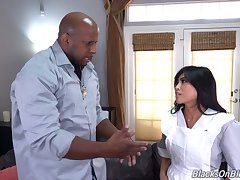 Hot Asian shady pumps black inches in say no to breakable cunt