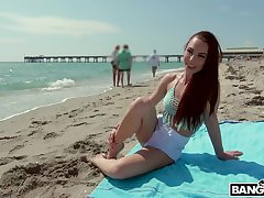 Redhead girlfriend Aidra Beelzebub enjoys having outdoors sexual congress with her BF