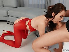 Teen in red lingerie, throated and immutable fucked in crazy XXX