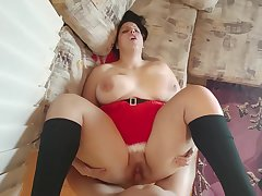 Fall guy White With Chunky Ass Added to Tits Tries Her New Toys For Christmas Added to Cum On Santas Cock