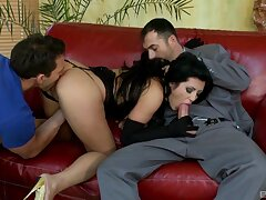 Horny brunette feels energized in such marvelous home trio