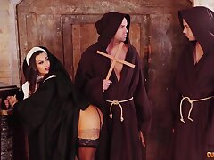 Hot nun Susi Gala sucks two successfully cocks and gets the brush pussy slammed